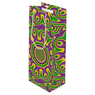 Sac Cadeau Pour Bouteille Mandala pourpre jaune vert de motif de mardi gras
