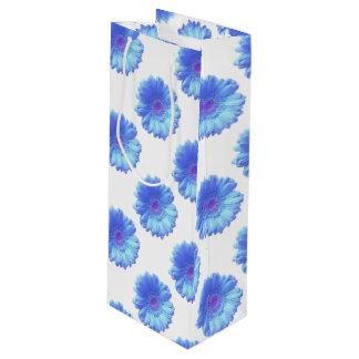 Sac Cadeau Pour Bouteille Marguerite bleue de gerbera
