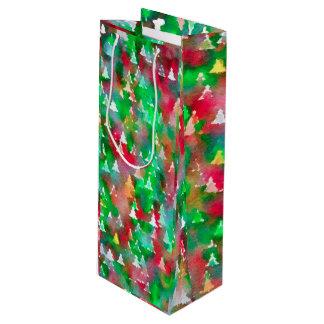 Sac Cadeau Pour Bouteille Motif d'aquarelle d'arbre de Noël