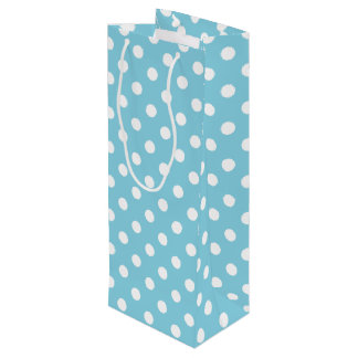 Sac Cadeau Pour Bouteille Motif de point bleu et blanc de polka