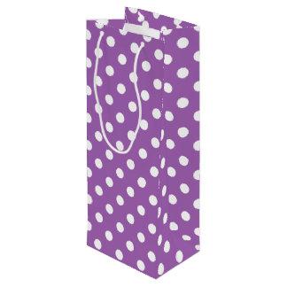 Sac Cadeau Pour Bouteille Motif de point pourpre et blanc de polka