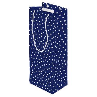 Sac Cadeau Pour Bouteille Motif de points de confettis de bleu marine et de