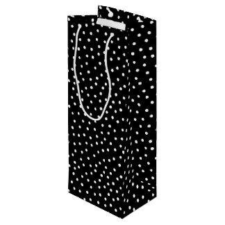 Sac Cadeau Pour Bouteille Motif de points noir et blanc de confettis