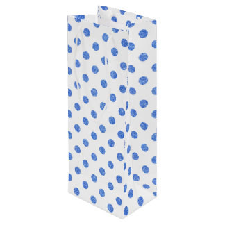 Sac Cadeau Pour Bouteille Motif de pois bleu élégant de scintillement