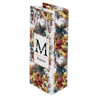 Sac Cadeau Pour Bouteille Motif dessiné réaliste de bouquet floral et