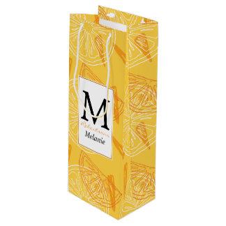 Sac Cadeau Pour Bouteille Motif d'été dessiné par citrons jaunes lumineux