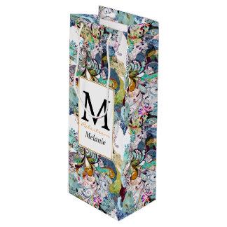 Sac Cadeau Pour Bouteille Motif floral abstrait multicolore de recouvrement