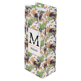 Sac Cadeau Pour Bouteille Motif floral artistique de batik de vignes