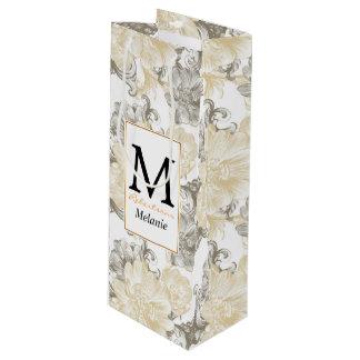 Sac Cadeau Pour Bouteille Motif floral beige victorien vintage de vignes