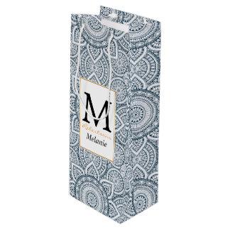 Sac Cadeau Pour Bouteille Motif floral blanc bleu géométrique de mandala