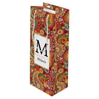 Sac Cadeau Pour Bouteille Motif sans couture floral rouge lumineux de