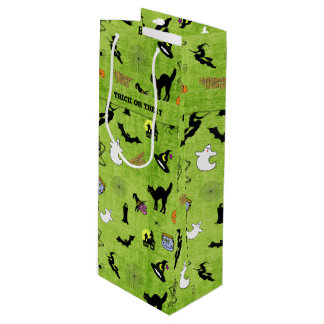 Sac Cadeau Pour Bouteille Motif vert de collage de Halloween - des bonbons
