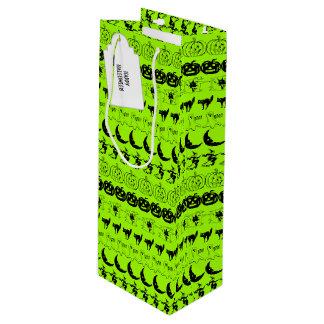 Sac Cadeau Pour Bouteille Personnalisez motif noir/vert d'art de police de