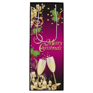 Sac Cadeau Pour Bouteille Rose de fête et or de Fushia de Joyeux Noël