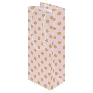 Sac Cadeau Pour Bouteille Rose et motif de point de polka d'or