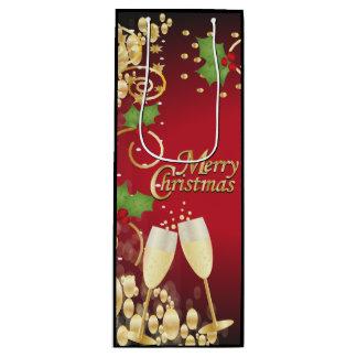 Sac Cadeau Pour Bouteille Rouge de fête et or de Joyeux Noël