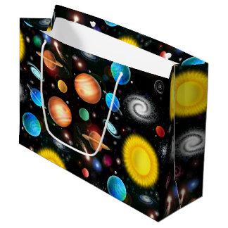 Sac coloré de cadeau de l'espace d'astronomie
