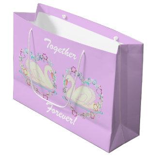 Sac de cadeau de princesse de cygne grand (lilas)