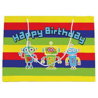 Sac de cadeau de robots d'anniversaire grand