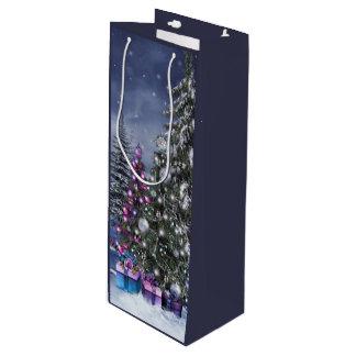 Sac de cadeau de vin de paysage de Noël