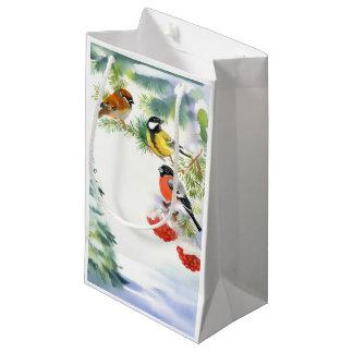 Sac de cadeau d'oiseaux d'hiver d'aquarelle petit