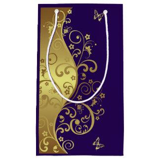 Sac de cadeau--Remous d'or et pourpre foncé