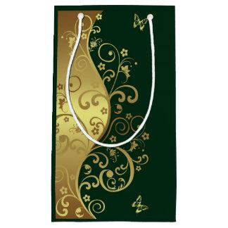 Sac de cadeau--Remous d'or et vert-foncé