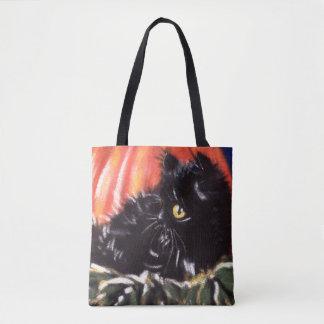 Sac de des bonbons ou un sort de chat noir