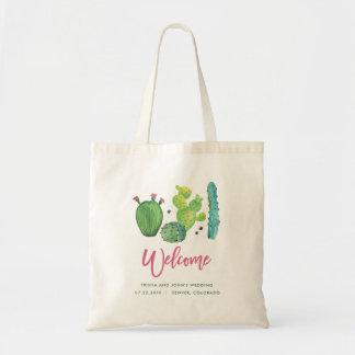 Sac de mariage de cactus d'aquarelle