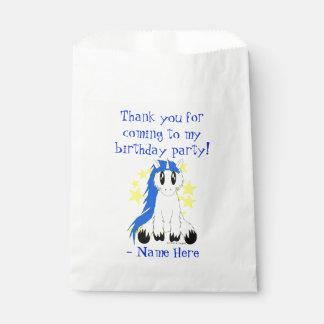 Sac délabré mignon de faveur de licorne (bleu) sachets en papier