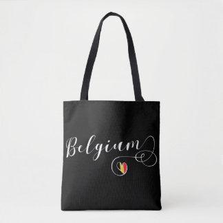 Sac d'épicerie de coeur de la Belgique, drapeau
