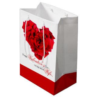 Sac en forme de coeur de cadeau d'amour de rose