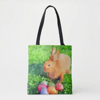 Sac fourre-tout à aquarelle de lapin de Pâques