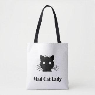 """Sac fourre-tout """"à Madame folle"""" chat noir de chat"""