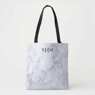 Sac fourre-tout de marbre minimal à monogramme