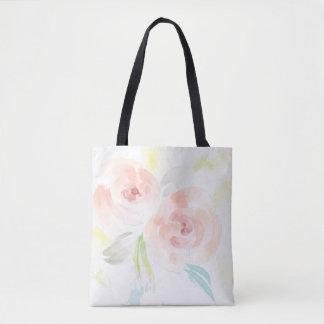 Sac fourre-tout féminin à roses d'aquarelle