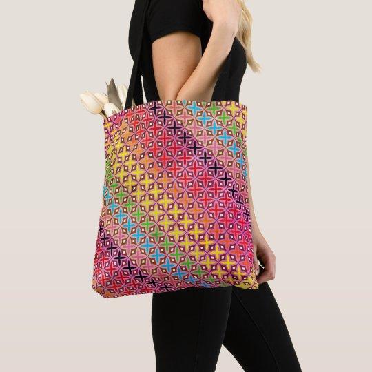 Sac Fourre-tout motif croix abstrait multicolore