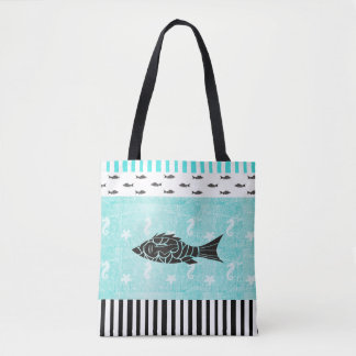 Sac fourre-tout nautique tropical à poissons et à