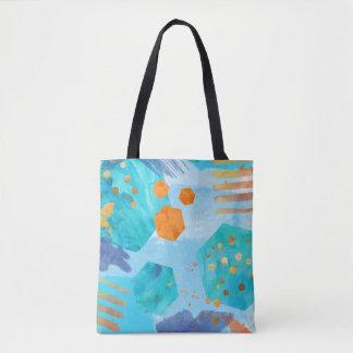 Sac fourre-tout peint par hexagone bleu abstrait à