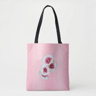 Sac fourre-tout personnalisé floral rose à mariage