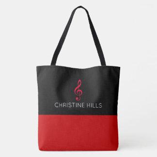 sac fourre-tout rouge/noir avec le nom + note