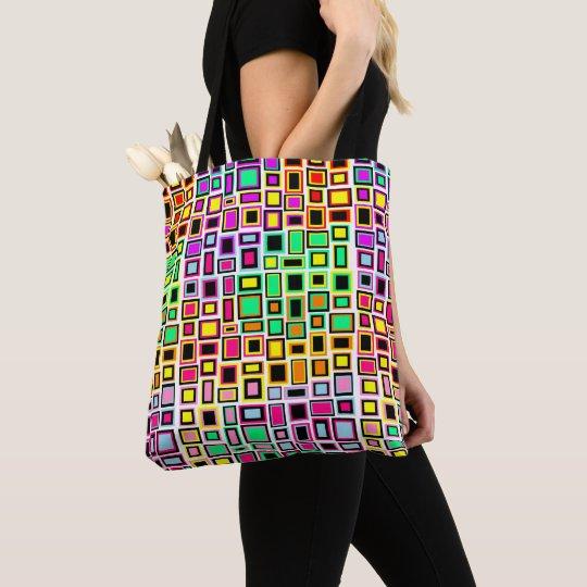 Sac fourre-tout tout imprimé carrés multicolore