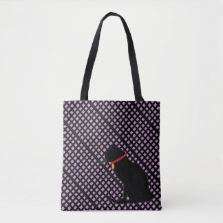 Sac graphique de chat noir et lilas de plaid pour