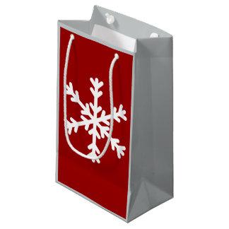 Sac gris et rouge de cadeau de flocon de neige