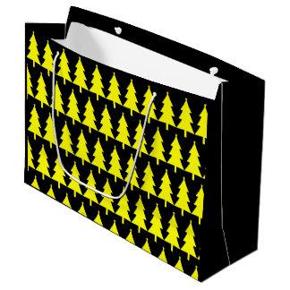 Sac jaune génial de cadeau de motif d'arbre de