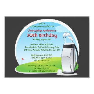 Sac jouant au golf de golf de golfeur et carton d'invitation  11,43 cm x 15,87 cm
