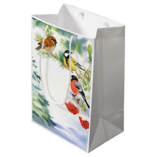 Sac moyen de cadeau d'oiseaux d'hiver d'aquarelle