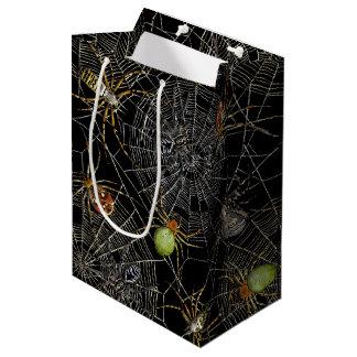 Sac net de cadeau d'araignées noires - milieu, mat