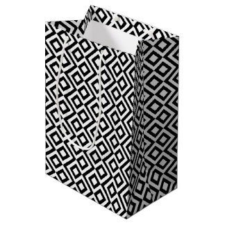 Sac noir et blanc géométrique de cadeau de méandre