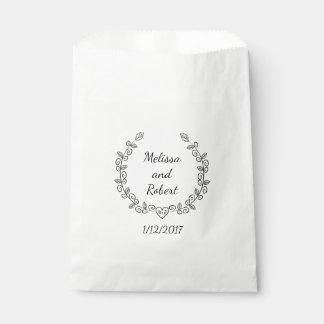 Sac nommé personnalisé par faveur de mariage de sachets en papier